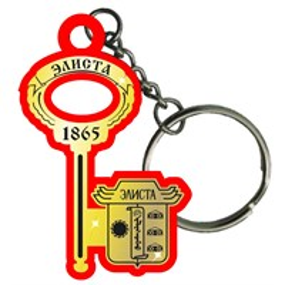 Брелок зеркальный на цветной подложке Ключ с гербом Элиста
