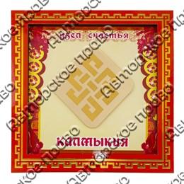 Панно квадратное 20х20 см красное с зеркальной деталью вид 4 с символами Вашего города