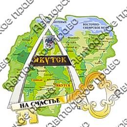Магнит Карта с зеркальной фурнитурой и символикой г.Якутск