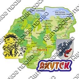 Магнит Карта с гербом и зеркальной фурнитурой с символикой г.Якутск