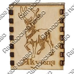 Спички с гравировкой Олень с символикой Якутии