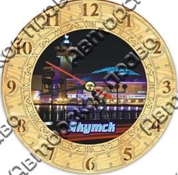 Часы круглые 25 см 2-хслойные с видами Якутска