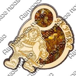 Магнит с янтарем Охотник с копьем с символикой Якутии