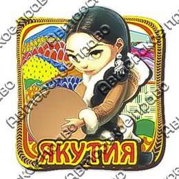 Магнит 2-хслойный Девушка с бубном и символикой Якутии