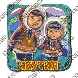 Магнит 2-хслойный Мальчик и девочка с символикой Якутии
