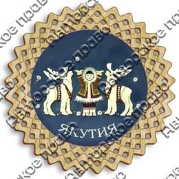 Магнит тарелочка 10 см ребенок с оленями и символикой Якутии