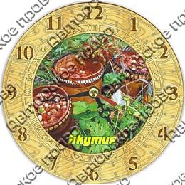 Часы круглые 15 см 2-хслойные с символами Якутии вид 2