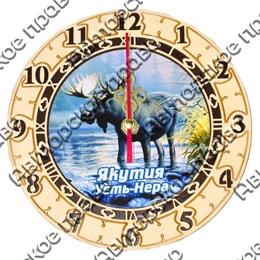 Часы круглые 15 см 2-хслойные Лось с символикой Усть-Нера