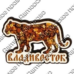 Магнит с янтарем Тигр с символикой Владивостока