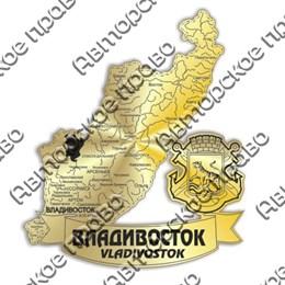 Магнит зеркальный Карта с символикой Владивостока