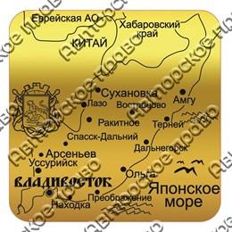 магнит зеркальный квадратный Карта с символикой Владивостока