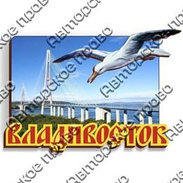 Магнит с чайкой и символикой Владивостока