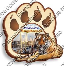 Магнит Лапа с тигром с видами Владивостока