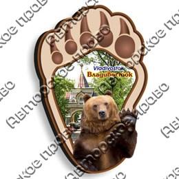 Магнит Лапа с медведем и символикой Владивостока
