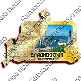 Магнит зеркальный с картинкой Карта с видами Владивостока вид 1