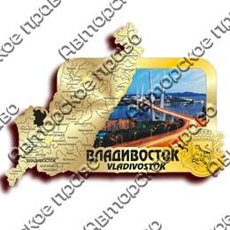 Магнит зеркальный с картинкой Карта с видами Владивостока вид 2
