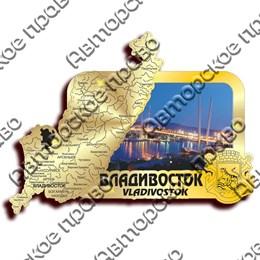 Магнит зеркальный с картинкой Карта с видами Владивостока вид 4