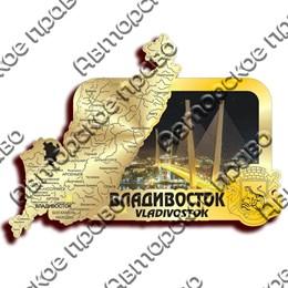 Магнит зеркальный с картинкой Карта с видами Владивостока вид 5