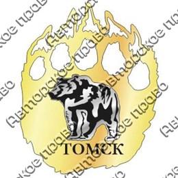 Магнит зеркальный комбинированный Лапа медведя с символикой Томска