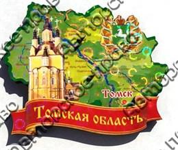 Магнит Карта Томской области и достопримечательности на ленте