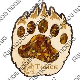 Магнит с янтарем Лапа медведя с символикой Томска