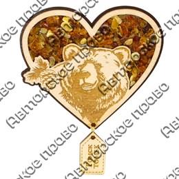 Магнит с янтарем и подвесной деталью Медведь в сердце с символикой Томска