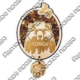 Магнит с янтарем и подвесной деталью Медведь с символикой Томска