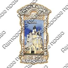 Магнит с оттиском резная рамка прямоугольная с достопримечательностями Томска