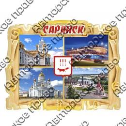 Магнит Свиток коллаж с гербом и достопримечательностями Саранска