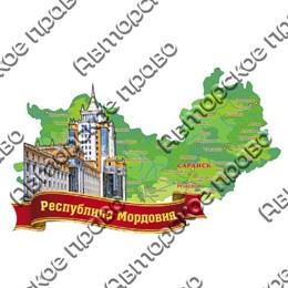 Магнит Карта с достопримечательностями Саранска на ленте
