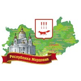 Магнит Карта с гербом и достопримечательностями Саранска на ленте