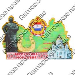 Магнит Карта с достопримечательностями Мордовии с зеркальной фурнитурой