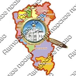 Магнит Карта с лупой с достопримечательностями Кемерово
