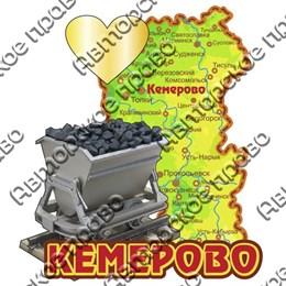 Магнит Карта кемеровской области с вагонеткой и зеркальной фурнитурой