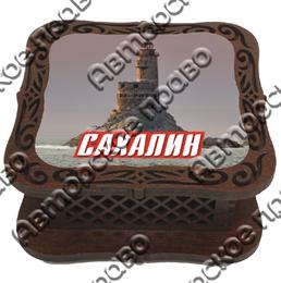 Шкатулка квадратная Сахалин
