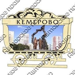 Магнит гравированный с картинкой Достопримечательности с символикой Кемерово