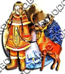 Магнитик 2-хслойный Коренные народы севера вид 6 с символикой Вашего города