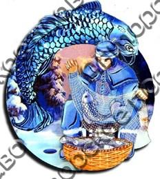 Магнитик 2-хслойный Коренные народы севера Рыбак с символикой Вашего города