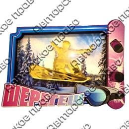 Магнит 2-хслойный Рамка с видами Вашего горнолыжного курорта и с зеркальным сноубордистом вид 2
