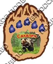 """Магнит с заливкой смола """"Лапа медведя"""" Сахалин"""