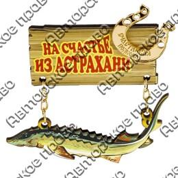 Магнит качели Осетр с зеркальной фурнитурой и символикой Астрахани