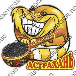 Магнит Кот с ложкой черной икры и символикой Астрахани