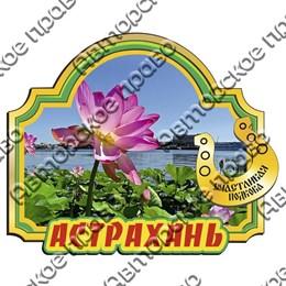 Магнит цветной Арка зеленая с зеркальной деталью и символикой Астрахани