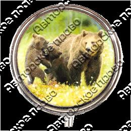 Таблетница круглая Медведица с медвежонком