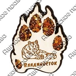 Магнит с янтарем Лапа тигра с символикой Вашего города