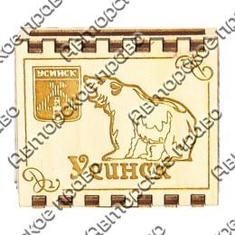 Спички с гравировкой Медведь вид 1 с символикой Усинска