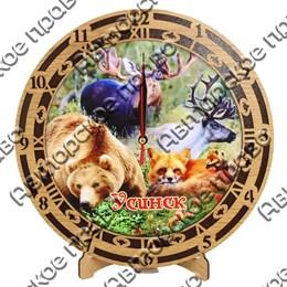Часы круглые 25 см 2-хслойные вид 2 с символикой Усинска