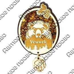 Магнит с янтарем Медведь с символикой Усинска и подвесной деталью