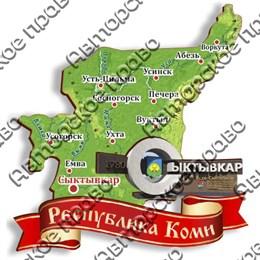 Магнит Карта Республики Коми с символикой Сыктывкара вид 1