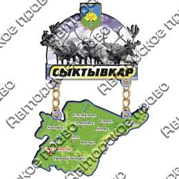 Магнит Качели с картой и зеркальным логотипом Сыктывкара
